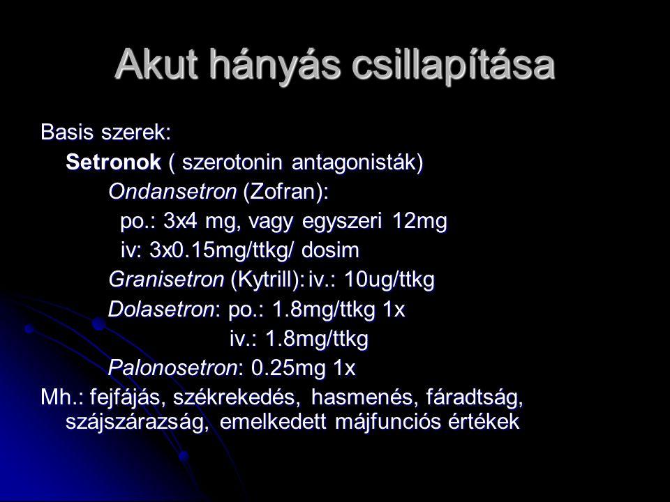 Akut hányás csillapítása Basis szerek: Setronok ( szerotonin antagonisták) Ondansetron (Zofran): po.: 3x4 mg, vagy egyszeri 12mg po.: 3x4 mg, vagy egyszeri 12mg iv: 3x0.15mg/ttkg/ dosim iv: 3x0.15mg/ttkg/ dosim Granisetron (Kytrill):iv.: 10ug/ttkg Dolasetron: po.: 1.8mg/ttkg 1x iv.: 1.8mg/ttkg iv.: 1.8mg/ttkg Palonosetron: 0.25mg 1x Mh.: fejfájás, székrekedés, hasmenés, fáradtság, szájszárazság, emelkedett májfunciós értékek