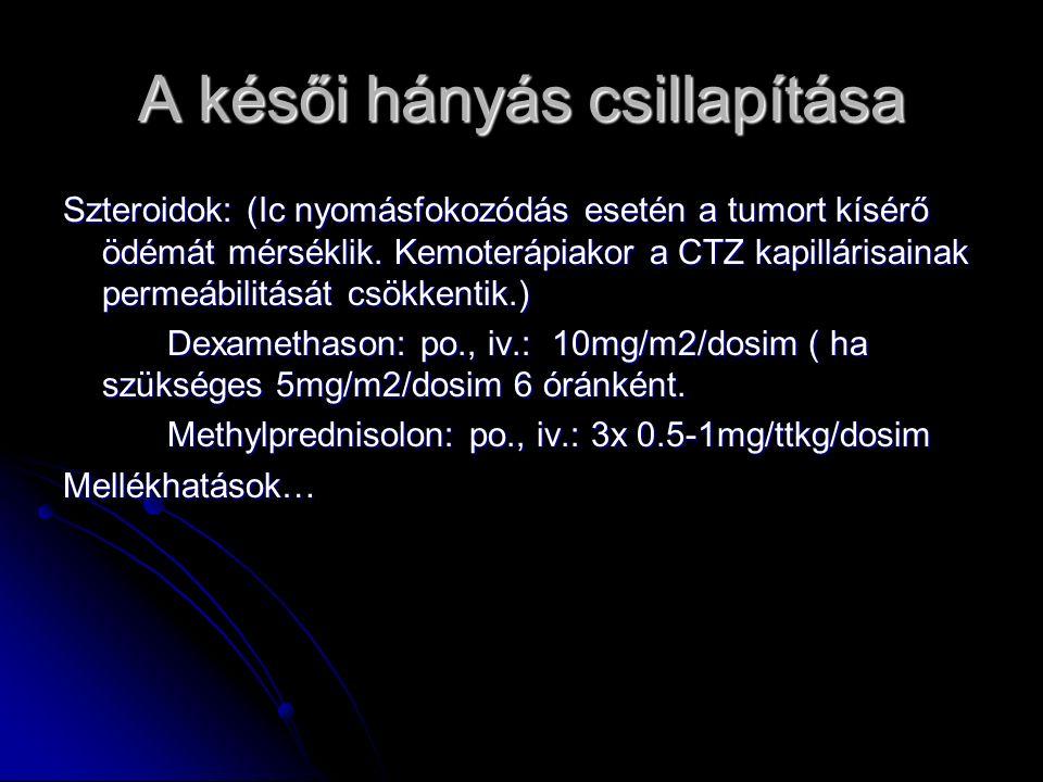 A késői hányás csillapítása Szteroidok: (Ic nyomásfokozódás esetén a tumort kísérő ödémát mérséklik. Kemoterápiakor a CTZ kapillárisainak permeábilitá