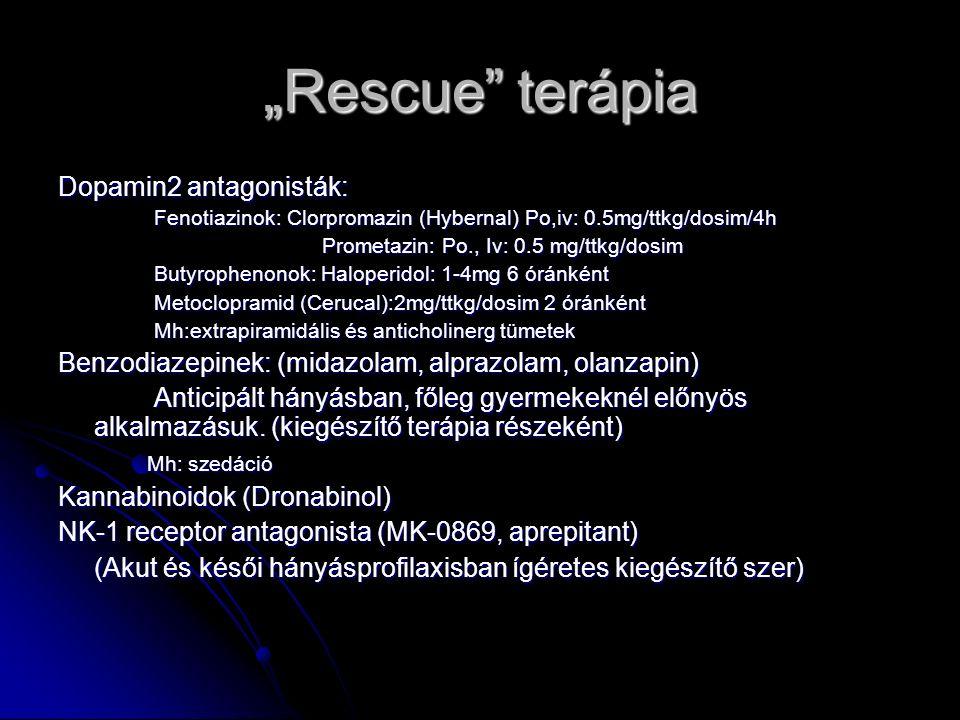 """""""Rescue terápia Dopamin2 antagonisták: Fenotiazinok: Clorpromazin (Hybernal) Po,iv: 0.5mg/ttkg/dosim/4h Prometazin: Po., Iv: 0.5 mg/ttkg/dosim Prometazin: Po., Iv: 0.5 mg/ttkg/dosim Butyrophenonok: Haloperidol: 1-4mg 6 óránként Metoclopramid (Cerucal):2mg/ttkg/dosim 2 óránként Mh:extrapiramidális és anticholinerg tümetek Benzodiazepinek: (midazolam, alprazolam, olanzapin) Anticipált hányásban, főleg gyermekeknél előnyös alkalmazásuk."""