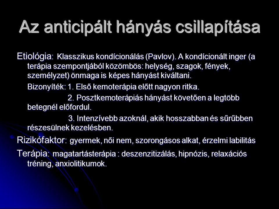 Az anticipált hányás csillapítása Etiológia : Klasszikus kondícionálás (Pavlov). A kondícionált inger (a terápia szempontjából közömbös: helység, szag