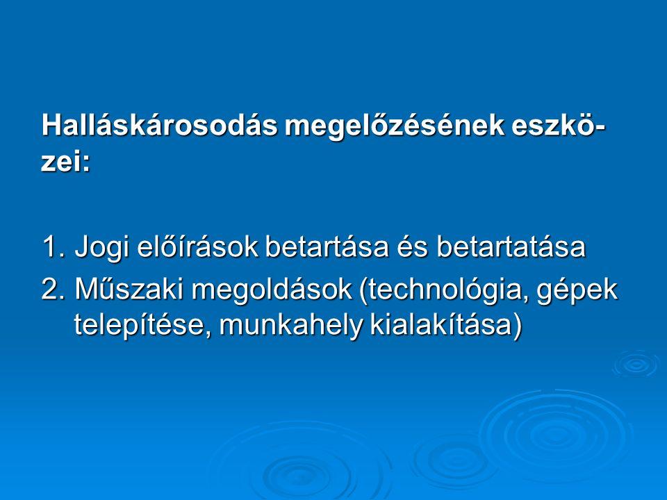 Halláskárosodás megelőzésének eszkö- zei: 1. Jogi előírások betartása és betartatása 2.