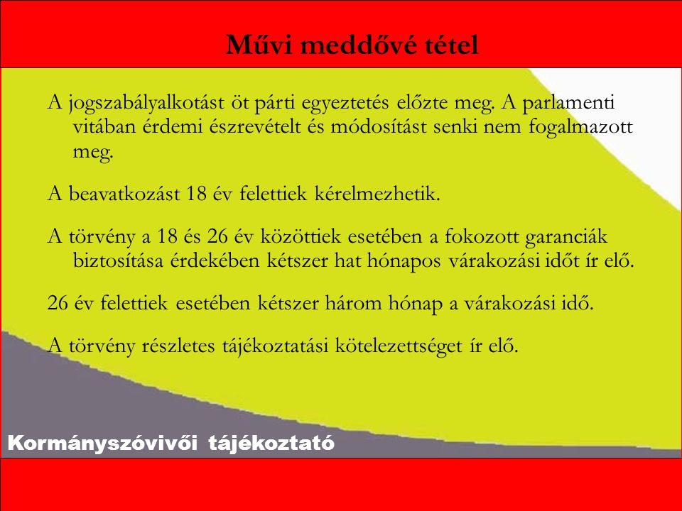 Kormányszóvivői tájékoztató Művi meddővé tétel A jogszabályalkotást öt párti egyeztetés előzte meg. A parlamenti vitában érdemi észrevételt és módosít