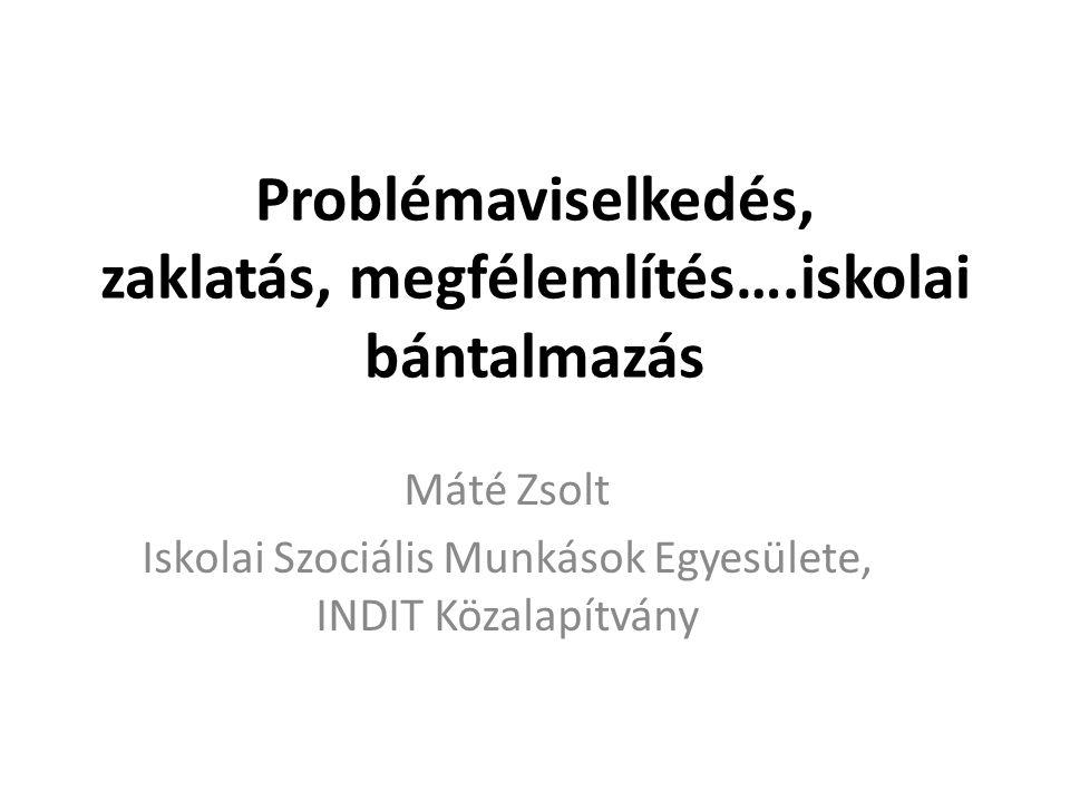 Problémaviselkedés, zaklatás, megfélemlítés….iskolai bántalmazás Máté Zsolt Iskolai Szociális Munkások Egyesülete, INDIT Közalapítvány