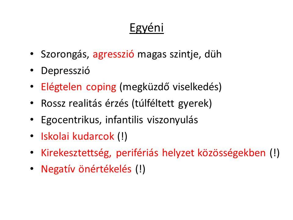 Egyéni Szorongás, agresszió magas szintje, düh Depresszió Elégtelen coping (megküzdő viselkedés) Rossz realitás érzés (túlféltett gyerek) Egocentrikus