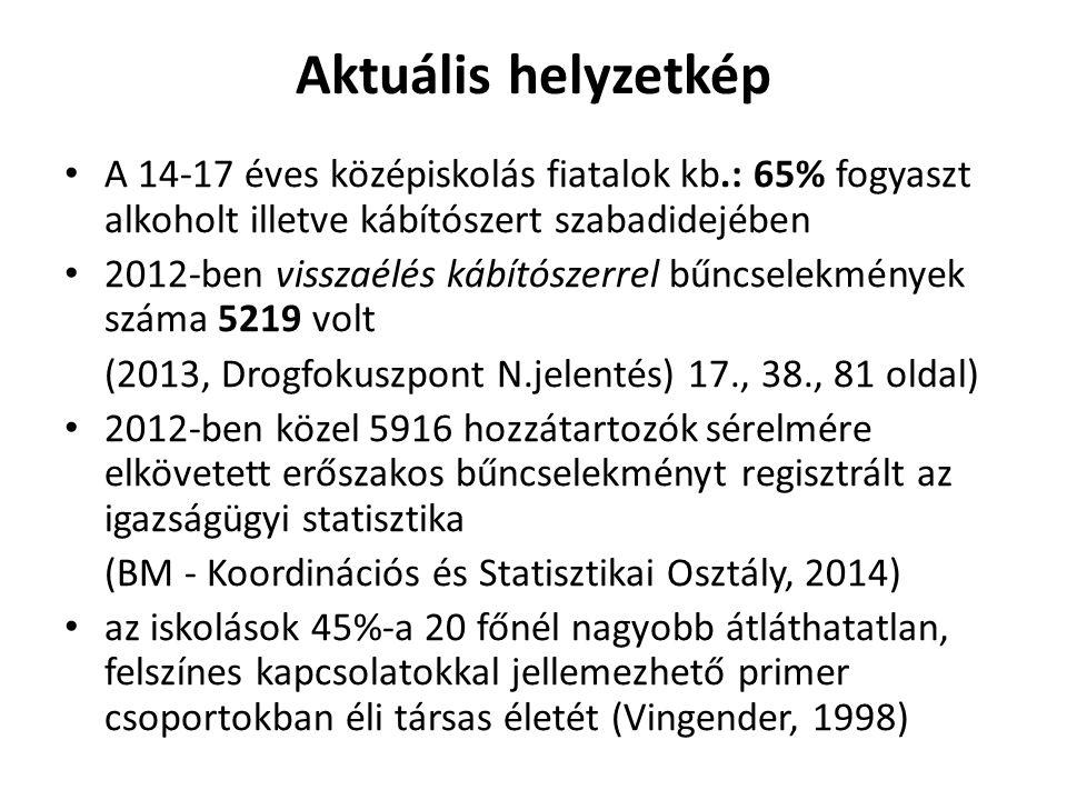Aktuális helyzetkép A 14-17 éves középiskolás fiatalok kb.: 65% fogyaszt alkoholt illetve kábítószert szabadidejében 2012-ben visszaélés kábítószerrel bűncselekmények száma 5219 volt (2013, Drogfokuszpont N.jelentés) 17., 38., 81 oldal) 2012-ben közel 5916 hozzátartozók sérelmére elkövetett erőszakos bűncselekményt regisztrált az igazságügyi statisztika (BM - Koordinációs és Statisztikai Osztály, 2014) az iskolások 45%-a 20 főnél nagyobb átláthatatlan, felszínes kapcsolatokkal jellemezhető primer csoportokban éli társas életét (Vingender, 1998)