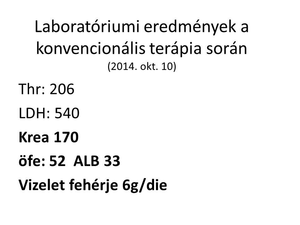 Laboratóriumi eredmények a konvencionális terápia során (2014.