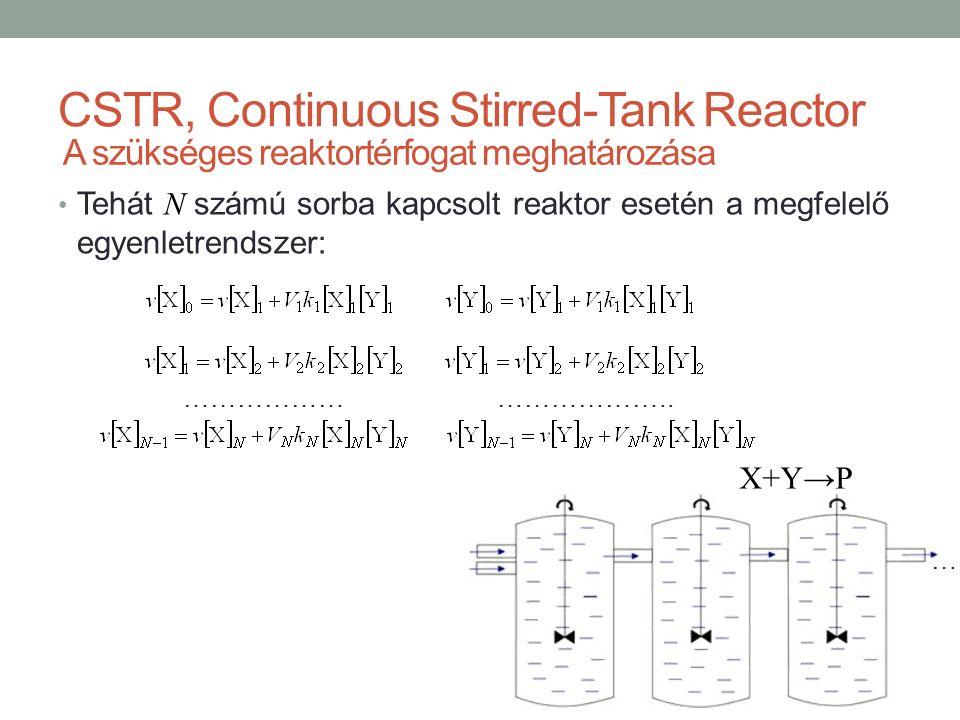 … CSTR, Continuous Stirred-Tank Reactor Tehát N számú sorba kapcsolt reaktor esetén a megfelelő egyenletrendszer: ……………… ……………….. A szükséges reaktort