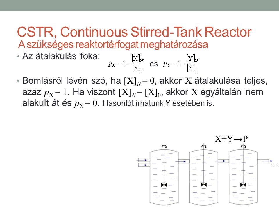 CSTR, Continuous Stirred-Tank Reactor Az átalakulás foka: Bomlásról lévén szó, ha [X] N = 0, akkor X átalakulása teljes, azaz p X = 1.