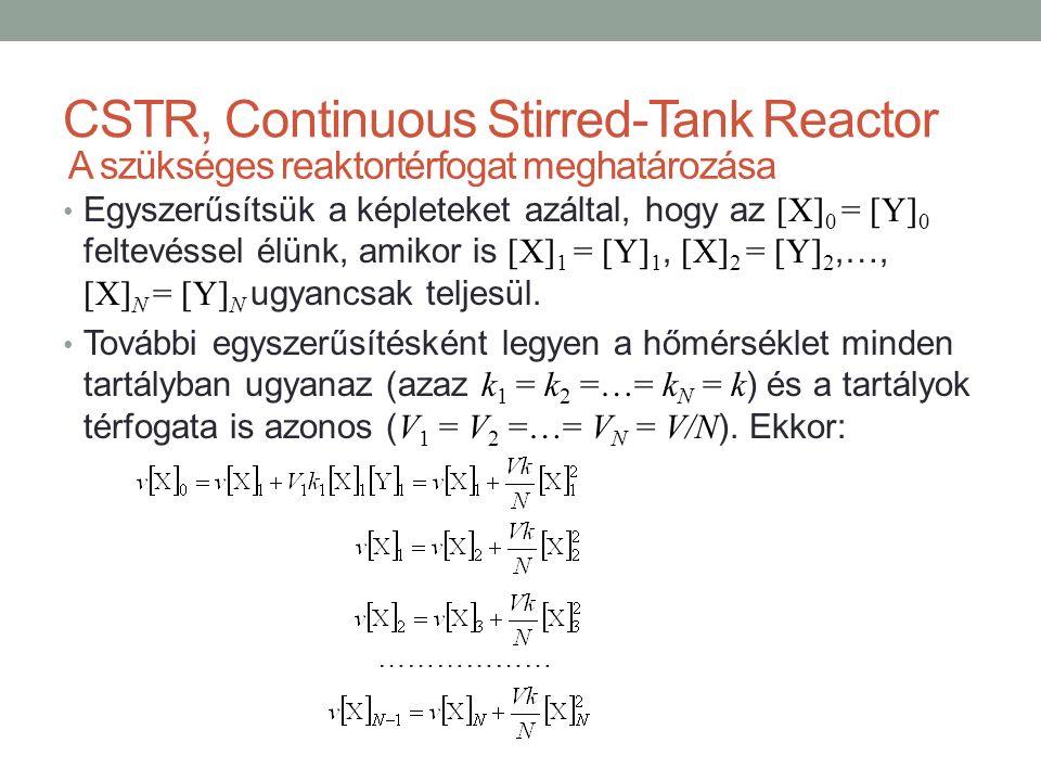 CSTR, Continuous Stirred-Tank Reactor Egyszerűsítsük a képleteket azáltal, hogy az [X] 0 = [Y] 0 feltevéssel élünk, amikor is [X] 1 = [Y] 1, [X] 2 = [Y] 2,…, [X] N = [Y] N ugyancsak teljesül.