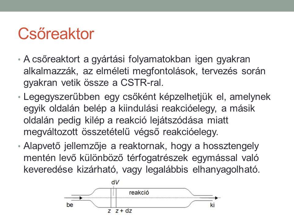 Csőreaktor A csőreaktort a gyártási folyamatokban igen gyakran alkalmazzák, az elméleti megfontolások, tervezés során gyakran vetik össze a CSTR-ral.