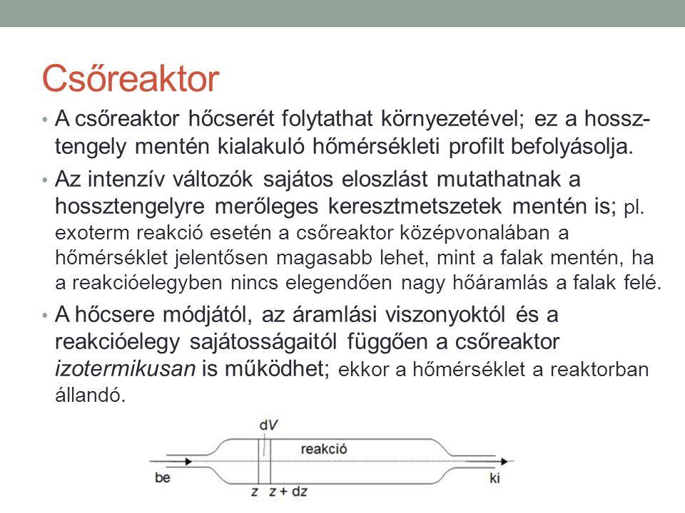 Csőreaktor A csőreaktor hőcserét folytathat környezetével; ez a hossz- tengely mentén kialakuló hőmérsékleti profilt befolyásolja.