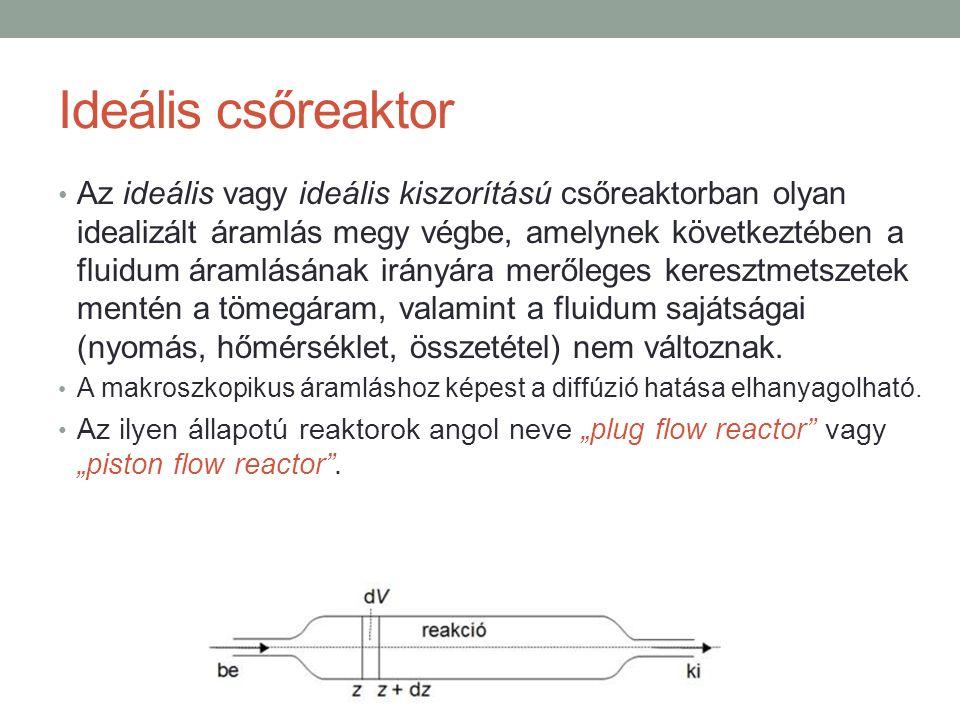Ideális csőreaktor Az ideális vagy ideális kiszorítású csőreaktorban olyan idealizált áramlás megy végbe, amelynek következtében a fluidum áramlásának