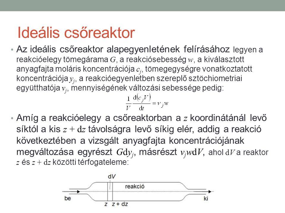 Ideális csőreaktor Az ideális csőreaktor alapegyenletének felírásához legyen a reakcióelegy tömegárama G, a reakciósebesség w, a kiválasztott anyagfaj