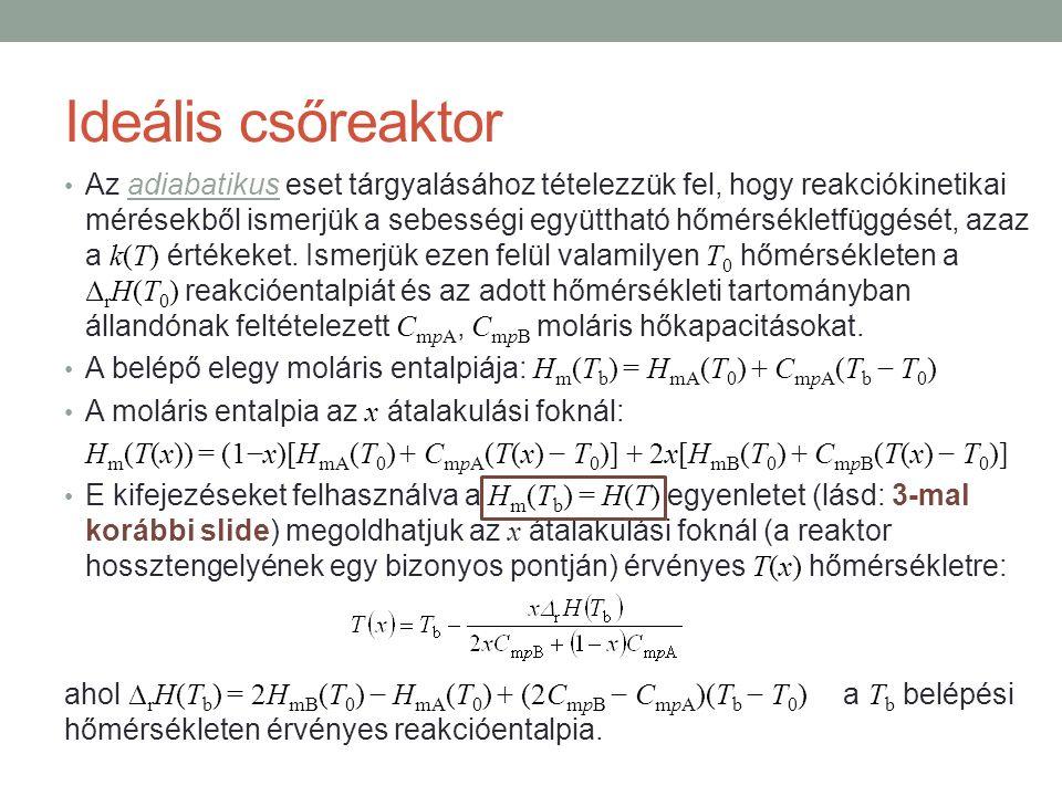 Ideális csőreaktor Az adiabatikus eset tárgyalásához tételezzük fel, hogy reakciókinetikai mérésekből ismerjük a sebességi együttható hőmérsékletfüggését, azaz a k(T) értékeket.