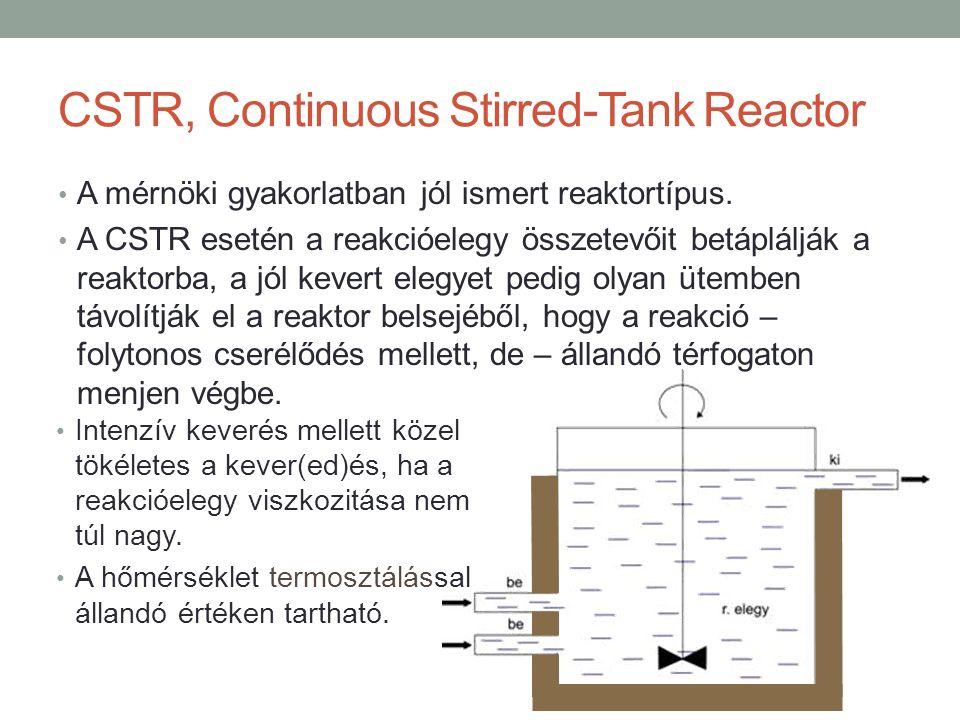 CSTR, Continuous Stirred-Tank Reactor A mérnöki gyakorlatban jól ismert reaktortípus. A CSTR esetén a reakcióelegy összetevőit betáplálják a reaktorba