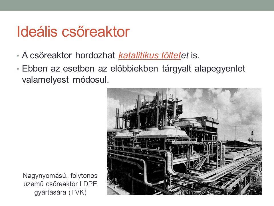 Ideális csőreaktor A csőreaktor hordozhat katalitikus töltetet is. Ebben az esetben az előbbiekben tárgyalt alapegyenlet valamelyest módosul. Nagynyom