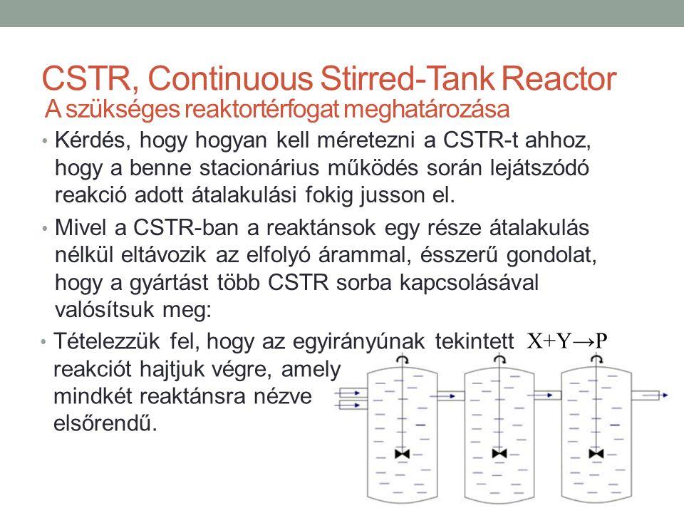 CSTR, Continuous Stirred-Tank Reactor Kérdés, hogy hogyan kell méretezni a CSTR-t ahhoz, hogy a benne stacionárius működés során lejátszódó reakció adott átalakulási fokig jusson el.