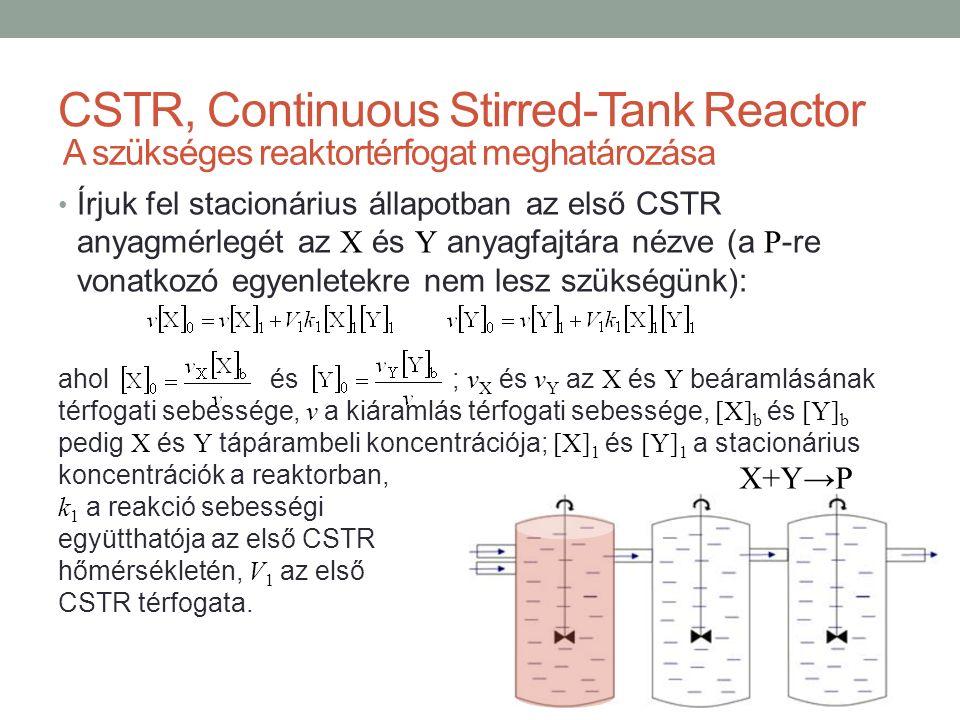Írjuk fel stacionárius állapotban az első CSTR anyagmérlegét az X és Y anyagfajtára nézve (a P -re vonatkozó egyenletekre nem lesz szükségünk): ahol és ; v X és v Y az X és Y beáramlásának térfogati sebessége, v a kiáramlás térfogati sebessége, [X] b és [Y] b pedig X és Y tápárambeli koncentrációja; [X] 1 és [Y] 1 a stacionárius koncentrációk a reaktorban, CSTR, Continuous Stirred-Tank Reactor A szükséges reaktortérfogat meghatározása X+Y→P k 1 a reakció sebességi együtthatója az első CSTR hőmérsékletén, V 1 az első CSTR térfogata.
