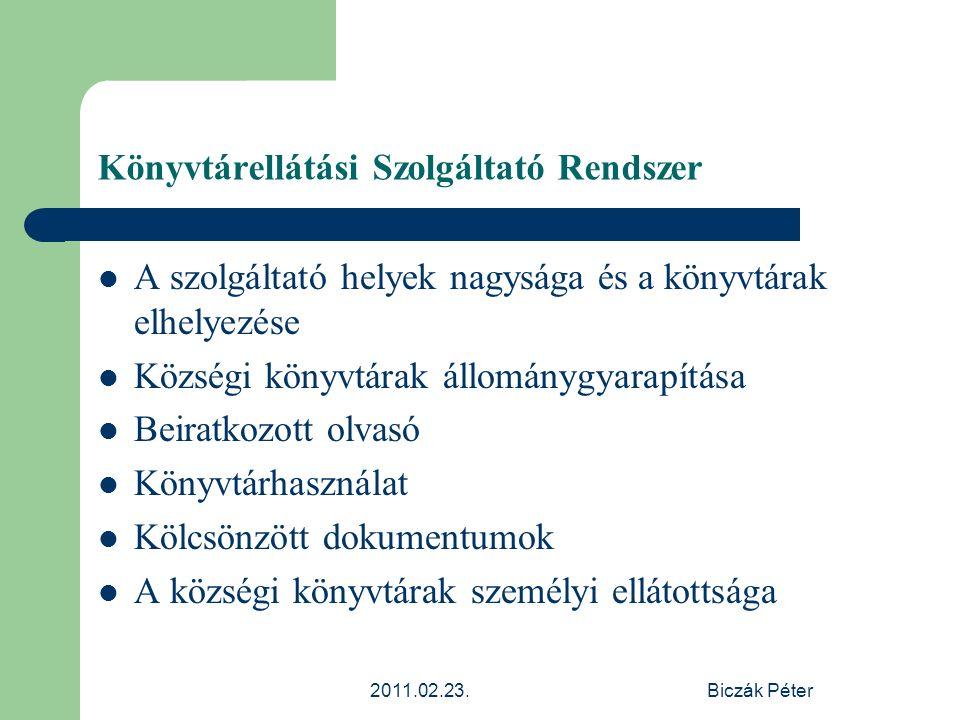 2011.02.23.Biczák Péter Könyvtárellátási Szolgáltató Rendszer A szolgáltató helyek nagysága és a könyvtárak elhelyezése Községi könyvtárak állománygya