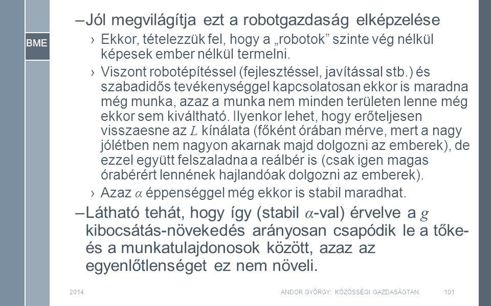 """BME 2014ANDOR GYÖRGY: KÖZÖSSÉGI GAZDASÁGTAN101 –Jól megvilágítja ezt a robotgazdaság elképzelése ›Ekkor, tételezzük fel, hogy a """"robotok szinte vég nélkül képesek ember nélkül termelni."""