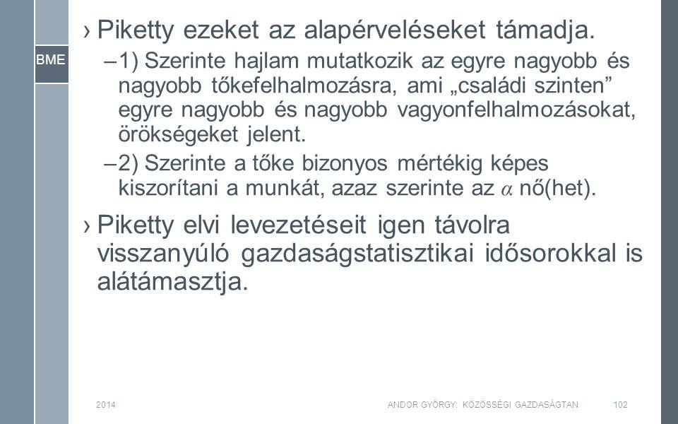 BME 2014ANDOR GYÖRGY: KÖZÖSSÉGI GAZDASÁGTAN102 ›Piketty ezeket az alapérveléseket támadja.