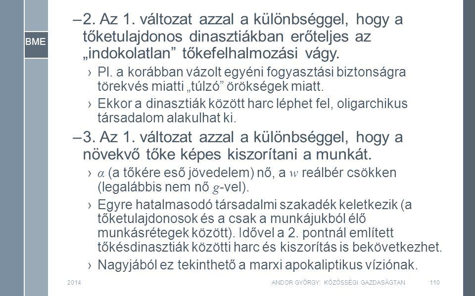 BME 2014ANDOR GYÖRGY: KÖZÖSSÉGI GAZDASÁGTAN110 –2.