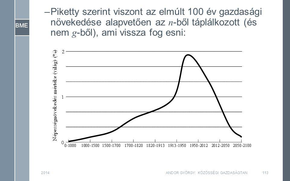 BME 2014ANDOR GYÖRGY: KÖZÖSSÉGI GAZDASÁGTAN113 –Piketty szerint viszont az elmúlt 100 év gazdasági növekedése alapvetően az n -ből táplálkozott (és nem g -ből), ami vissza fog esni: