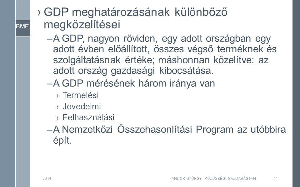 BME 2014ANDOR GYÖRGY: KÖZÖSSÉGI GAZDASÁGTAN41 ›GDP meghatározásának különböző megközelítései –A GDP, nagyon röviden, egy adott országban egy adott évben előállított, összes végső terméknek és szolgáltatásnak értéke; máshonnan közelítve: az adott ország gazdasági kibocsátása.