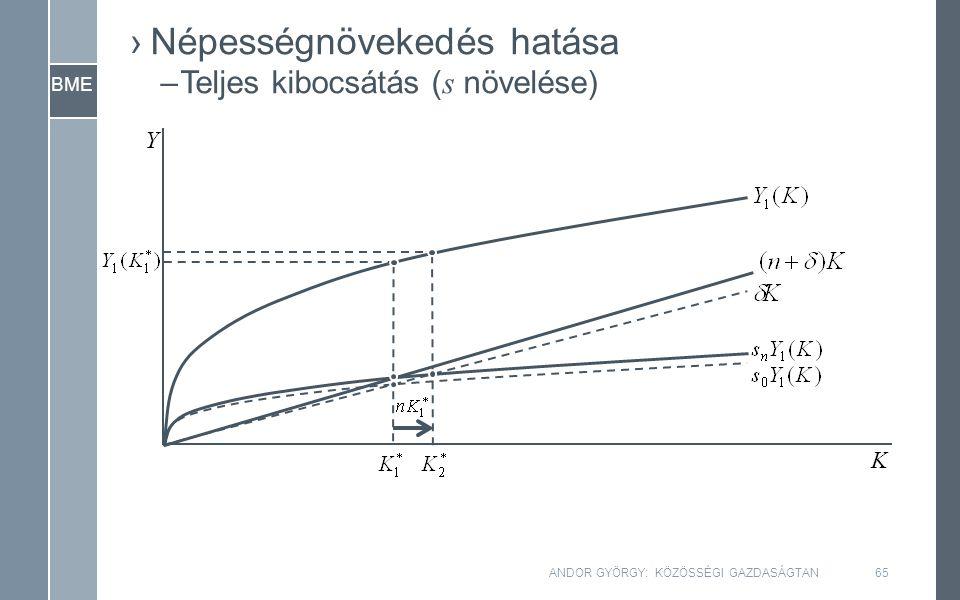 BME Y K ANDOR GYÖRGY: KÖZÖSSÉGI GAZDASÁGTAN65 ›Népességnövekedés hatása –Teljes kibocsátás ( s növelése)
