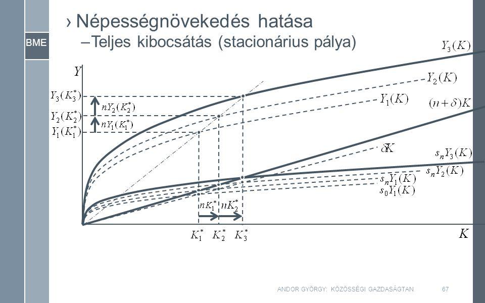 BME ANDOR GYÖRGY: KÖZÖSSÉGI GAZDASÁGTAN67 ›Népességnövekedés hatása –Teljes kibocsátás (stacionárius pálya) Y K