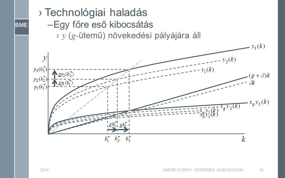 BME 2014ANDOR GYÖRGY: KÖZÖSSÉGI GAZDASÁGTAN81 y k ›Technológiai haladás –Egy főre eső kibocsátás › y ( g -ütemű) növekedési pályájára áll