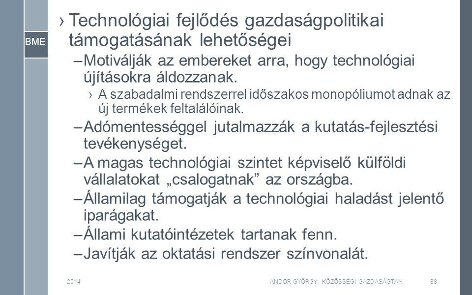 BME 2014ANDOR GYÖRGY: KÖZÖSSÉGI GAZDASÁGTAN88 ›Technológiai fejlődés gazdaságpolitikai támogatásának lehetőségei –Motiválják az embereket arra, hogy technológiai újításokra áldozzanak.