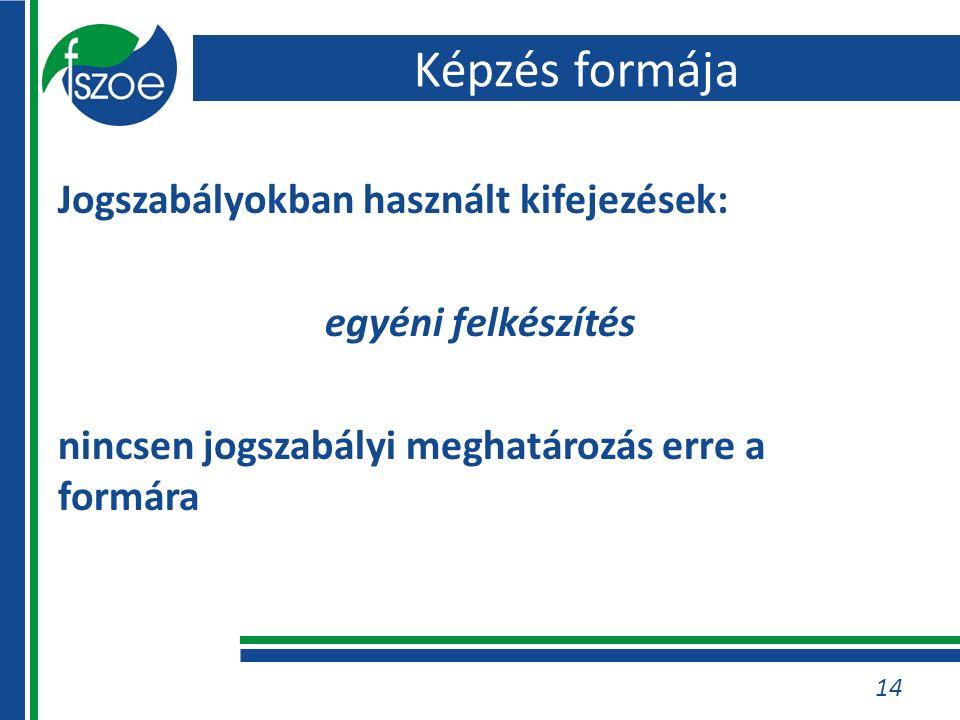 Jogszabályokban használt kifejezések: egyéni felkészítés nincsen jogszabályi meghatározás erre a formára 14 Képzés formája