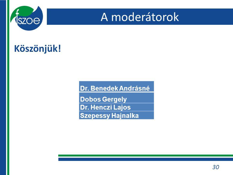 A moderátorok Köszönjük! 30 Dr. Benedek Andrásné Dobos Gergely Dr. Henczi Lajos Szepessy Hajnalka