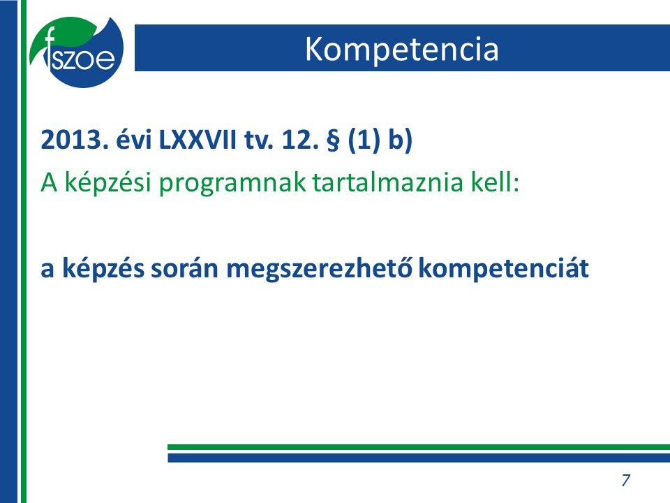 Kompetencia 2013. évi LXXVII tv. 12. § (1) b) A képzési programnak tartalmaznia kell: a képzés során megszerezhető kompetenciát 7