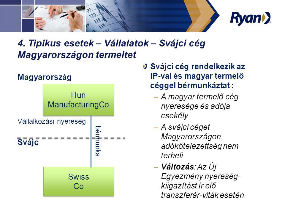 4. Tipikus esetek – Vállalatok – Svájci cég Magyarországon termeltet Magyarország Vállalkozási nyereség Svájc Svájci cég rendelkezik az IP-val és magy