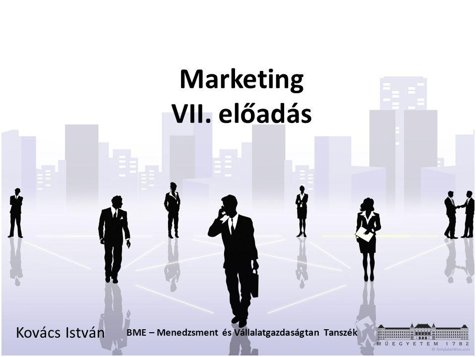 Marketing VII. előadás Kovács István BME – Menedzsment és Vállalatgazdaságtan Tanszék