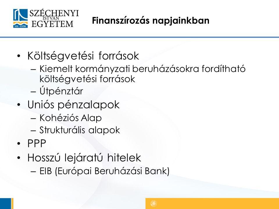 Finanszírozás napjainkban Költségvetési források – Kiemelt kormányzati beruházásokra fordítható költségvetési források – Útpénztár Uniós pénzalapok – Kohéziós Alap – Strukturális alapok PPP Hosszú lejáratú hitelek – EIB (Európai Beruházási Bank)