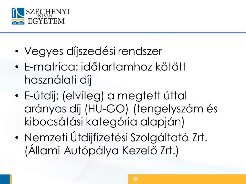 Vegyes díjszedési rendszer E-matrica: időtartamhoz kötött használati díj E-útdíj: (elvileg) a megtett úttal arányos díj (HU-GO) (tengelyszám és kibocsátási kategória alapján) Nemzeti Útdíjfizetési Szolgáltató Zrt.
