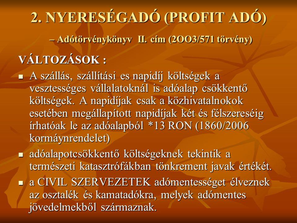 1.MIKROVÁLLALKOZÁSOK ADÓJA – Adótörvénykönyv IV. cím (2OO3.