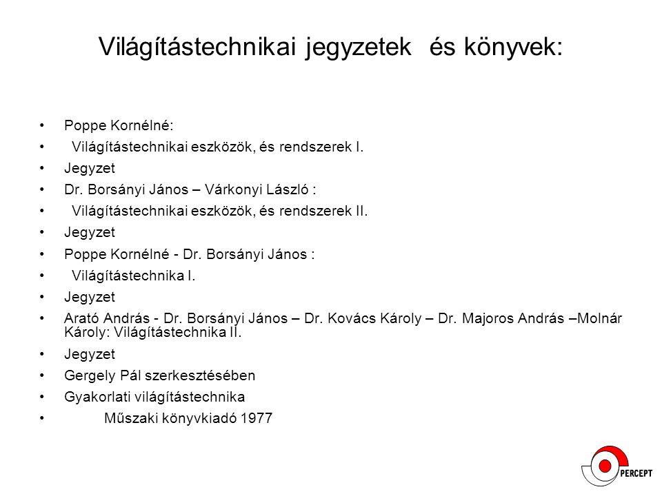 Világítástechnikai jegyzetek és könyvek: Poppe Kornélné: Világítástechnikai eszközök, és rendszerek I. Jegyzet Dr. Borsányi János – Várkonyi László :