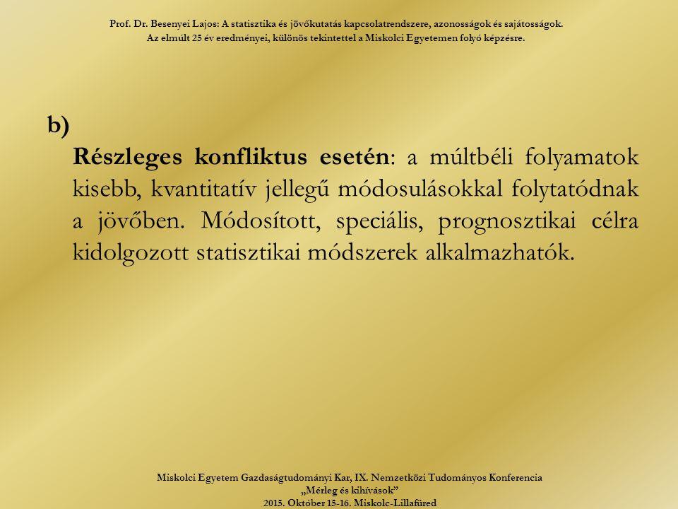 b) Részleges konfliktus esetén: a múltbéli folyamatok kisebb, kvantitatív jellegű módosulásokkal folytatódnak a jövőben.