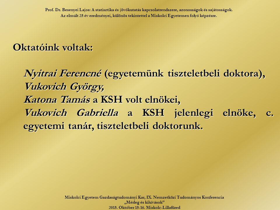 Oktatóink voltak: Nyitrai Ferencné (egyetemünk tiszteletbeli doktora), Vukovich György, Katona Tamás a KSH volt elnökei, Vukovich Gabriella a KSH jelenlegi elnöke, c.