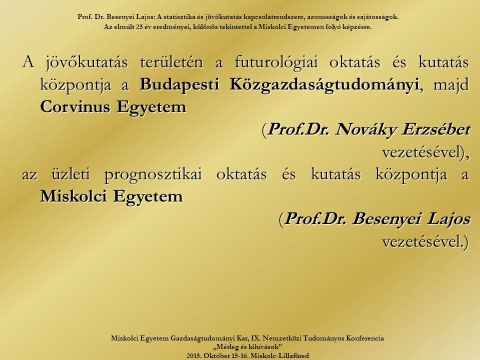 A jövőkutatás területén a futurológiai oktatás és kutatás központja a Budapesti Közgazdaságtudományi, majd Corvinus Egyetem (Prof.Dr.