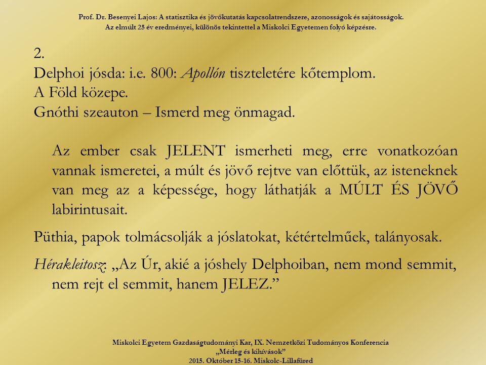 2. Delphoi jósda: i.e. 800: Apollón tiszteletére kőtemplom.