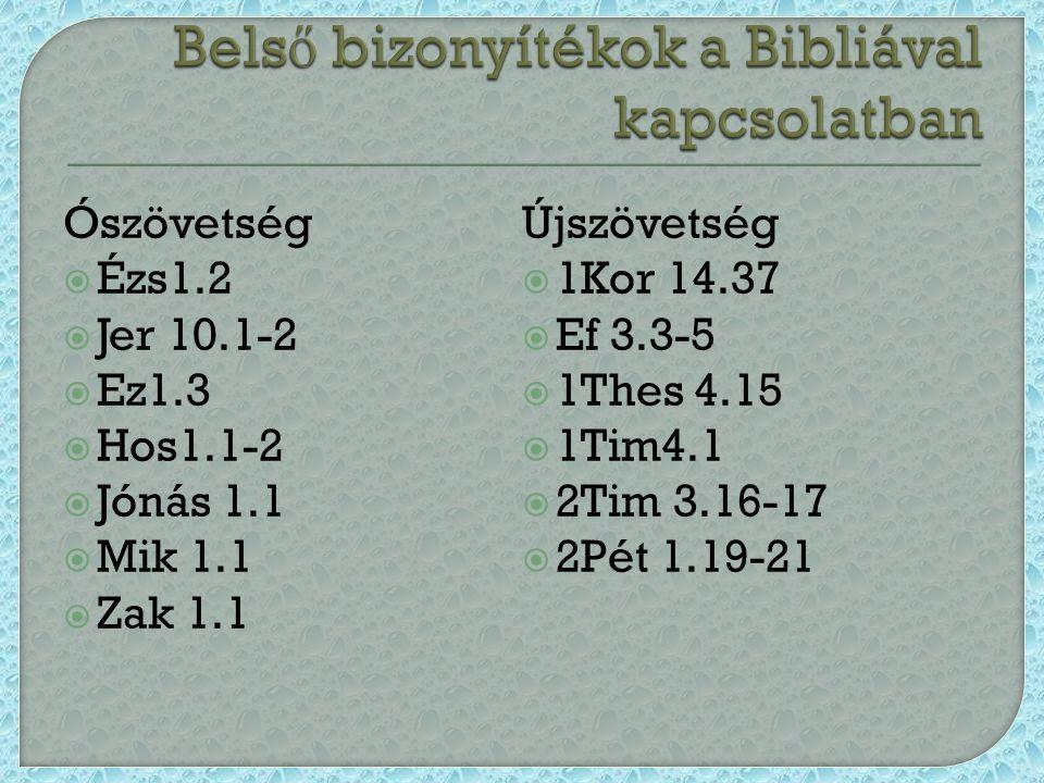Ószövetség  Ézs1.2  Jer 10.1-2  Ez1.3  Hos1.1-2  Jónás 1.1  Mik 1.1  Zak 1.1 Újszövetség  1Kor 14.37  Ef 3.3-5  1Thes 4.15  1Tim4.1  2Tim 3.16-17  2Pét 1.19-21