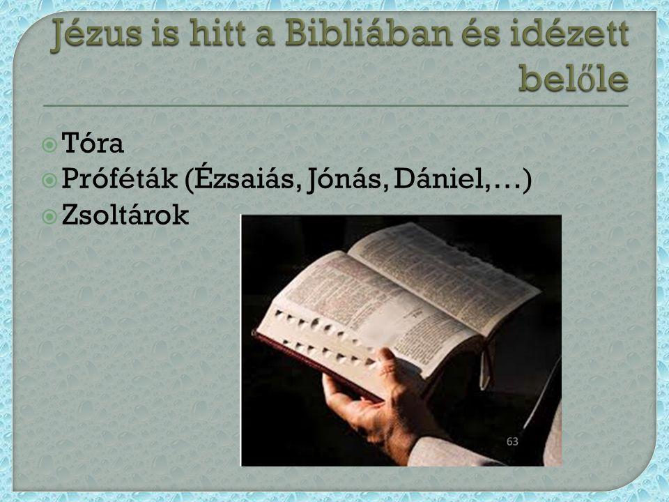  Tóra  Próféták (Ézsaiás, Jónás, Dániel,…)  Zsoltárok
