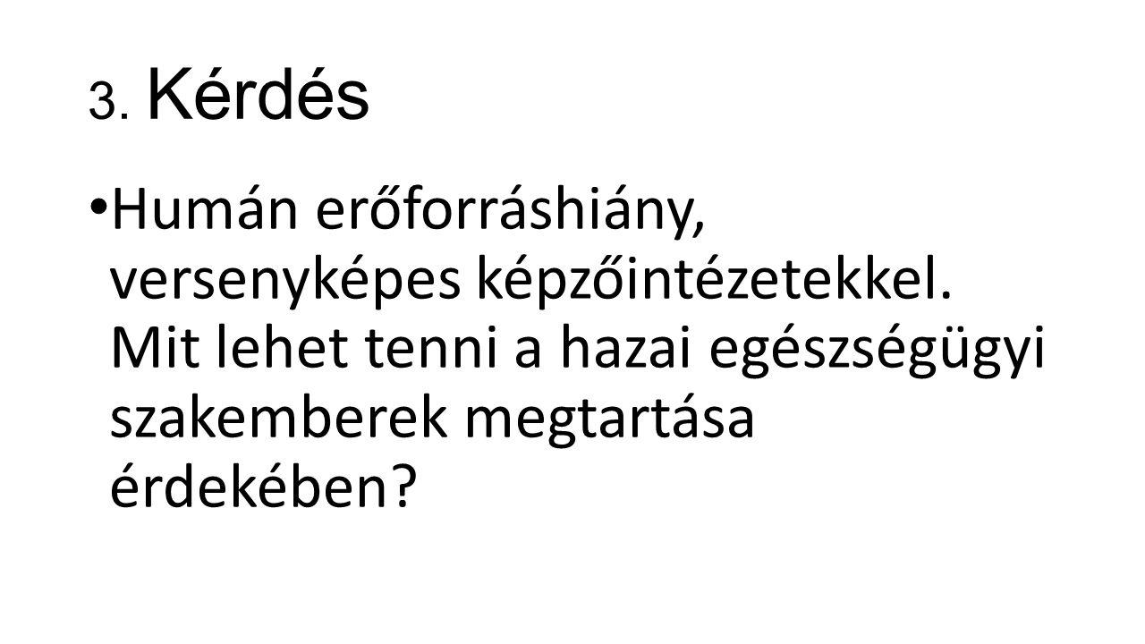 3. Kérdés Humán erőforráshiány, versenyképes képzőintézetekkel.