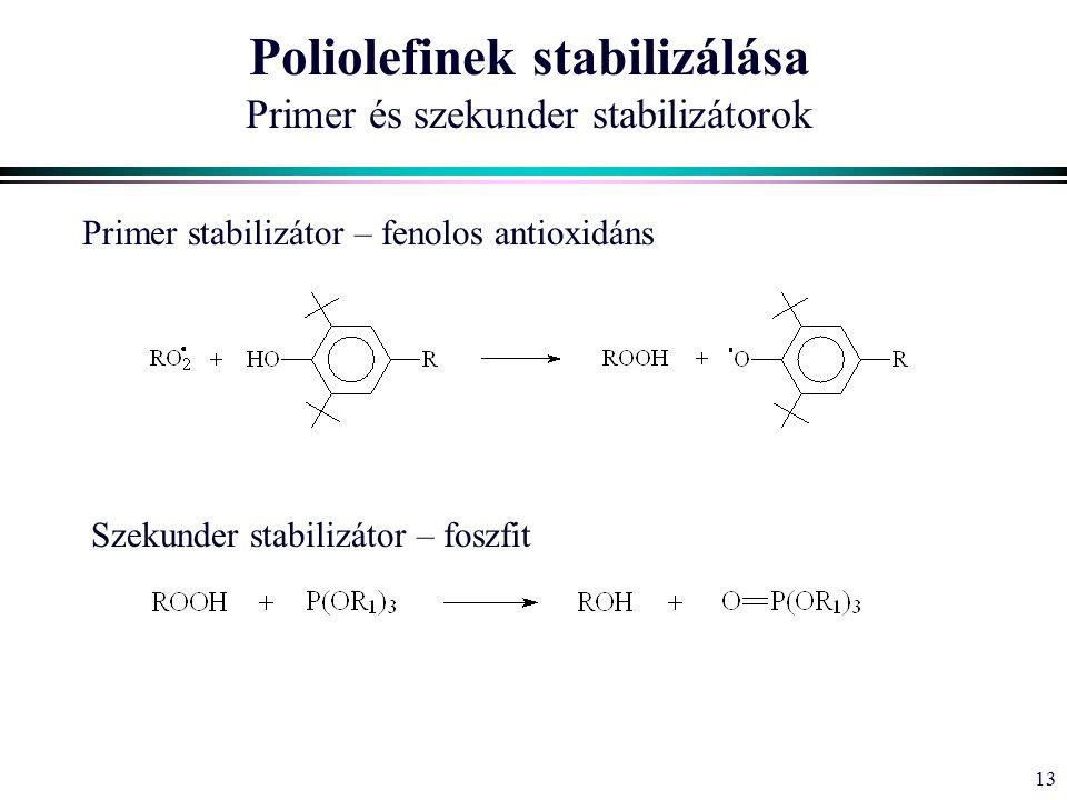 13 Poliolefinek stabilizálása Primer és szekunder stabilizátorok Primer stabilizátor – fenolos antioxidáns Szekunder stabilizátor – foszfit
