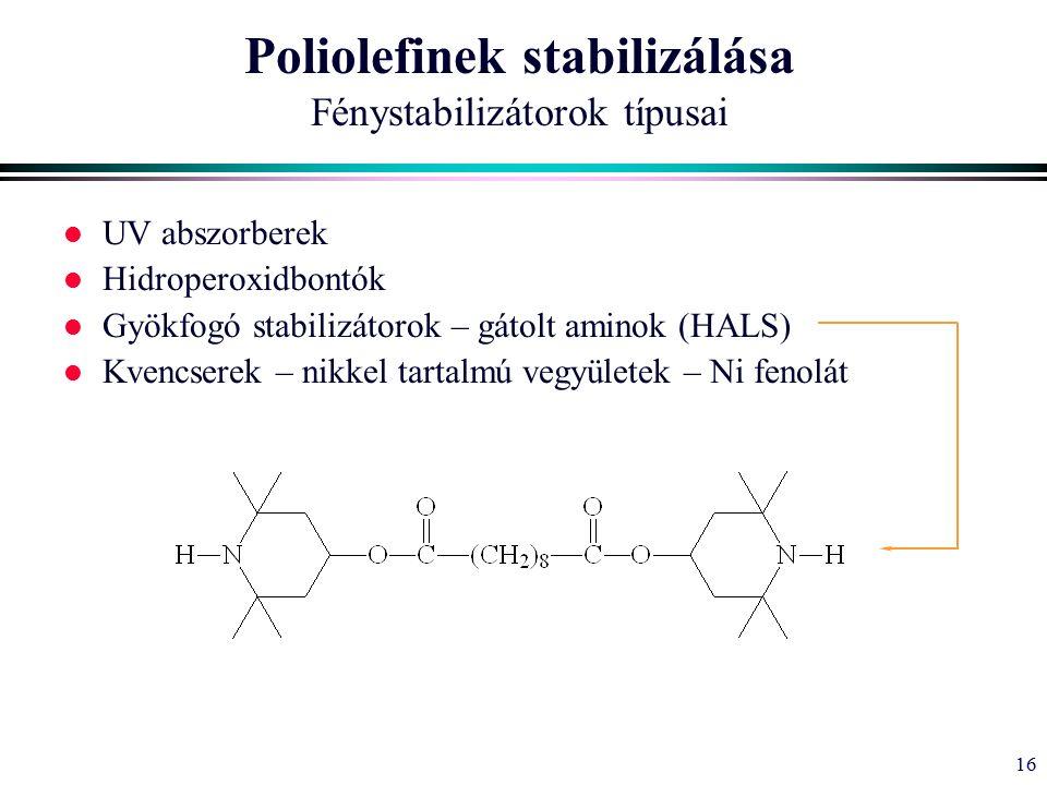 16 Poliolefinek stabilizálása Fénystabilizátorok típusai l UV abszorberek l Hidroperoxidbontók l Gyökfogó stabilizátorok – gátolt aminok (HALS) l Kvencserek – nikkel tartalmú vegyületek – Ni fenolát